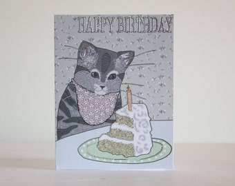 Cat birthday cake card, cat and her cake.