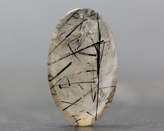 Black Tourmaline Rutiles in Quartz Tourmalinated Rutilated Quartz Healing Stone, Birthstone Jewelry Collectible Gift Ideas (CA5867)
