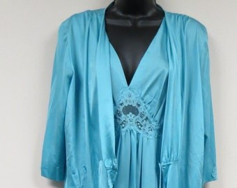 Sale Vintage Turquoise Blue Negligee Lingerie Pegnoir  Robe and Nightgown Nightie Full Length Unworn New Old Stock Lorraine