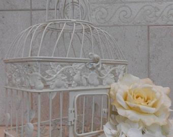Small Ivory Bisque Birdcage Card Holder / Wedding Card Holder / Wedding Card Box / DIY Wedding / DIY Birdcage / Wedding Supplies
