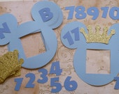 Photo Frame Light Blue Head Prince Mickey Mouse Gold Glitter Crowns Die Cuts DIY Decorations Banners 1 - 12 month pictures Happy Birthday