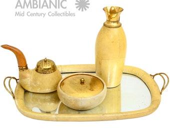 Aldo Tura Macabo Parchment Tea Tabaco Set Mid Century Italian Modern