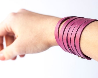 Leather Bracelet / Original Sliced Cuff / Summer Fuchsia