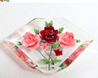 SALE! Vintage 1940s Lucite Brooch, Reverse Carved Red & Pink Roses Flower Posy Chunky Clear Plastic Rhombus Brooch
