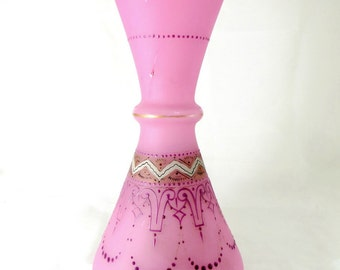 Victorian Art Nouveau Enamelled Vase, Large 19C Frosted Pink Stourbridge Hand-Decorated Art Glass Waisted Vase