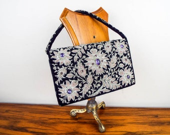 Vintage Floral 1930s Small Beaded Velvet Zardozi Clutch Purse, Antique Unique Handbags for Special Event, One of a Kind Wedding Accessories