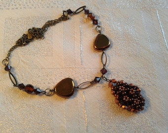 Steampunk Style Hand Beaded Necklace, OOAK, Featuring Swarovski Crystals