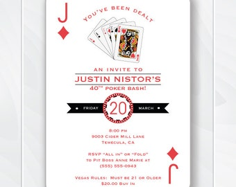 Casino Invitation, Poker Birthday Party, 30th birthday 40th 50th 60th, Surprise Party, Playing Card Invite, Las Vegas Theme #0400