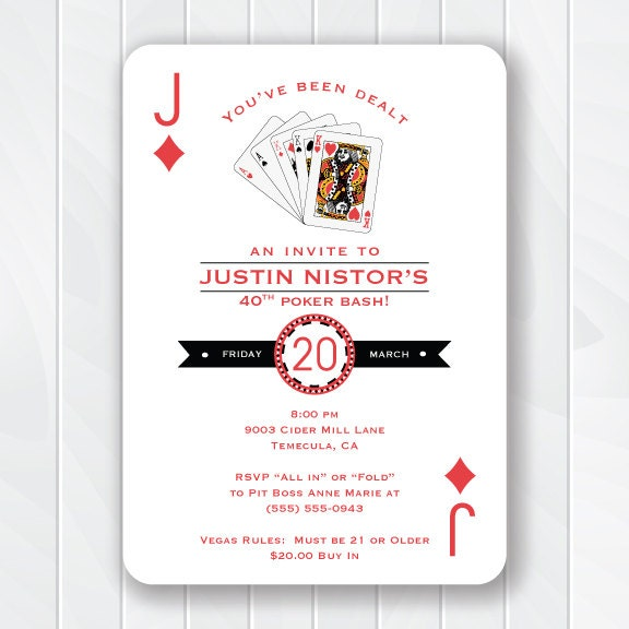 Casino Invitation Poker Birthday Party 30th birthday 40th