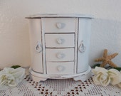 White Jewelry Box Rustic Shabby Chic Distressed Up Cycled Vintage Wood Beach Cottage French Country Farmhouse Home Decor Birthday Gift Her