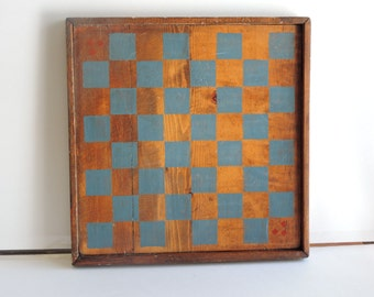 Vintage American Folk Art, Wooden Checker Board,Game Chess,Board Games,Home Decor
