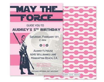 Force Awakens Inspired, Modern Girls Star Wars Invitation, Custom Printable  (PBK Inspired, Rey, Force Awakens, Death Star, Girls Party)