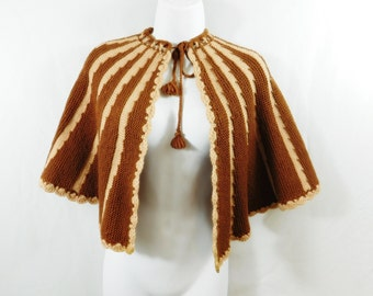 Vintage  knit crochet  capelet shawl with tassel ties. Granny style tan and cream,hand made