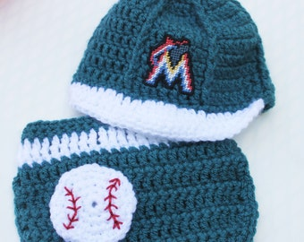 SALE  Miami Marlins inspired Cap and Diaper Cover size 0 to 3 months with logo NOT made with felt Crochet