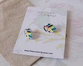 Cute as a Button - Tear Drop retro wooden colourful wood stud earrings