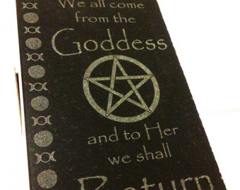 "We All Come from the Goddess plaque, 4"" x 6"" etched marble tile"