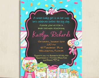 Candy Theme Baby Shower Invitation - Chalkboard Sweet Shoppe Printable and Custom Invite