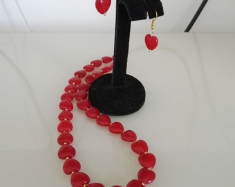 free shipping- jade set, 10 mm heart red jade necklace & earrings set