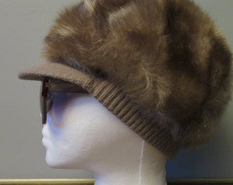 Vintage 1970's Fuax Fur Trimmed Knit Winter Hat
