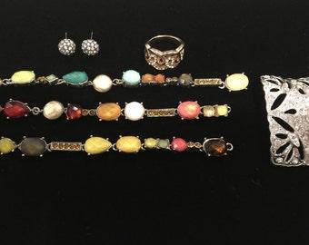Vintage destash jewelry parts, rhinestones, ring, earrings, necklace, shoe clip 1980s for repurpose