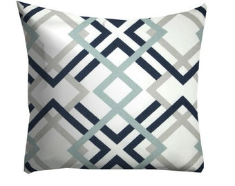 Navy Grey decorative pillows,Grey Pillows, Home Decor,Trellis Lattice Pillow Cover, Couch Pillows,Grey Throw Pillows