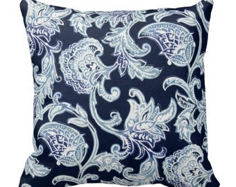 outdoor pillows, navy blue outdoor pillows, pillow covers, blue outdoor paisley pillows, 18x18 20x20 blue pillows, couch pillow covers