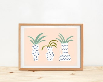 Vases art print, illustration by depeapa, memphis milano vases, wall art, A4, plants poster, cactus drawing, wall decor, memphis art