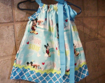 Mouse Inspired...Girls Pillowcase Dress Infant toddler sizes 0-6, 6-12, 12-18, 18-24 months, 2T, 3T..Bigger sizes AVAILABLE