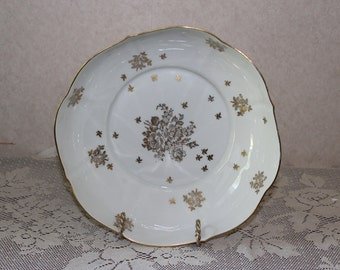 Hand Painted Pate De Limoges Gold and White Decorative Bowl