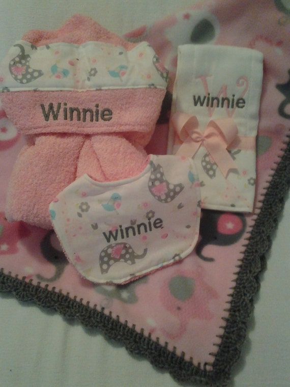 Personalized baby shower gift items hooded towel bib