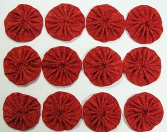 "Yo-Yo's, Set of (12) Handmade Crimson Red  Print-100% Cotton Fabric- 1-3/4"""