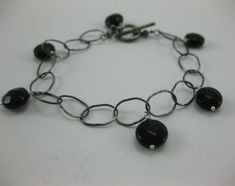 Black Onyx - Oxidized Sterling Silver Bracelet - 3161