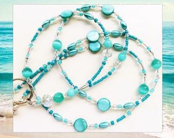 OCEAN TROPICS- Beaded ID Lanyard- Mother of Pearl, Brazilian Aquamarine Gemstones, Cat's Eye Beads, Sparkling Crystals