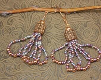Gypsy Boho Dangle Earrings, Beaded Earrings, Handmade, Chandelier Earrings, Western Cowgirl Shabby Chic Urban Hip Hop