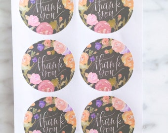 Floral Thank you label sticker - 24 pieces - 3.8cm round enveolpe seal - wedding invitation