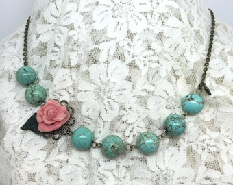 Rose and Turquoise Necklace  Romantic Rose Necklace  Porcelian Rose Necklace   Item 878