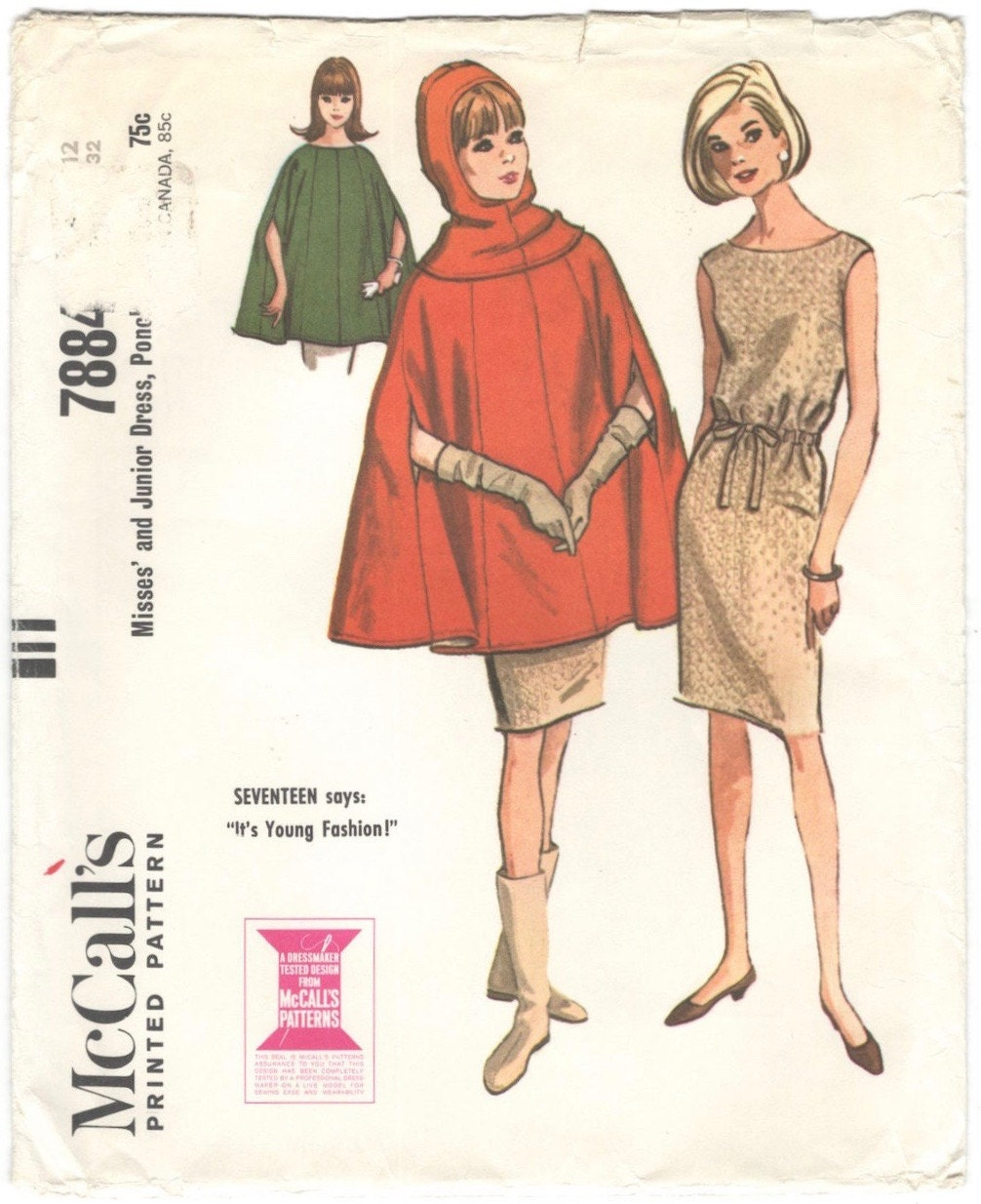 1960s poncho, hood, and dress pattern after Courrèges - McCall's 7884