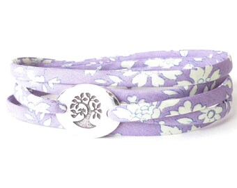 Confirmation gift for girls, meaningful bracelet with tree charm, lilac fabric wrap to suit any wrist, teen girl gift idea