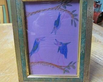 Three Birds #9 Original Drawing, Mixed Drawing Materials, Bob Marley, Positive, Upbeat, Inspirational
