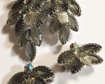 Vintage Smokey Gray Juliana Style Rhinestone Brooch and Earrings Set