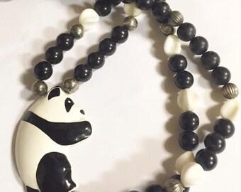 Vintage Multi Stranded Panda Beaded Necklace