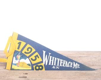 1950s Whiteface Mt. Pennant / Vintage Felt Pennant / Pennant Banner / Pennant Flag / Blue and Yellow Pennant / Wall Pennant Decor