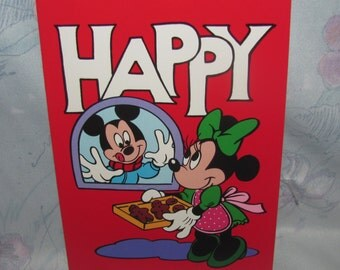 Vintage Disney Holiday/Christmas Cards - Mickey Admiring Minnie's Baking, Cookies - Set of 8 Red Greeting Cards
