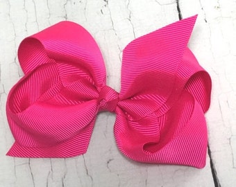 ON SALE Boutique Bow - Shocking Pink Girls Hair Bow - 4 inch Hair Clip - Boutique Bow - Baby, Toddler, Girl,