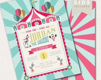 Circus Invitation, Carnival Invitation, Big Top - Printable Birthday Party Invite - Pink