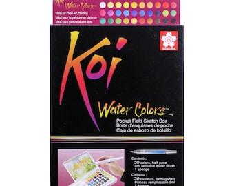 Sakura Koi Watercolor Sketch Box Travel Pan Set of 30 Colors