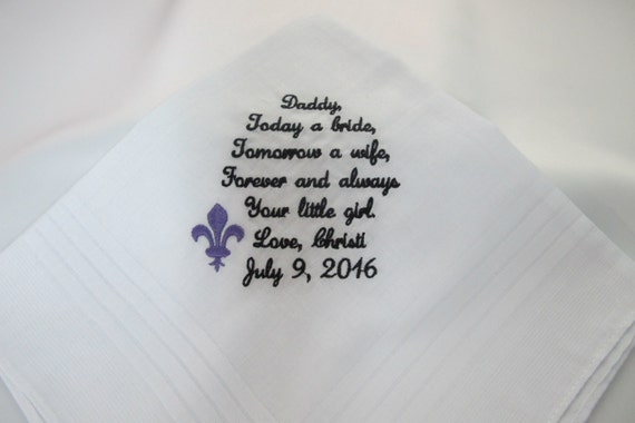 Father of the Bride Embroidered Wedding Handkerchief