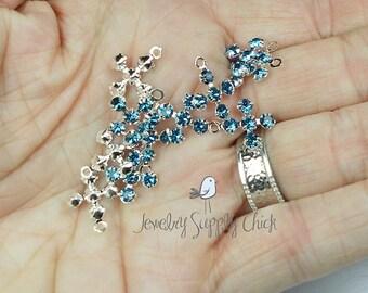 Indicolite Swarovski Crystal cross (x6)