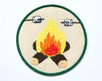 Campfire Patch / Roasting Marshmallows / Embroidered / Best Friends / Badge / Camping / Hiking / Backpacking / Fire / Outdoors