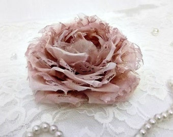 Blush Silk Organza and Lace Bridal Hair Flower